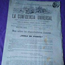 Coleccionismo de Revistas y Periódicos: LA CONFIDENCIA UNIVERSAL PERIODICO MERCANTIL Y FINANCIERO 1892 CHANCHULLEROS ILUSTRES . Lote 147682334