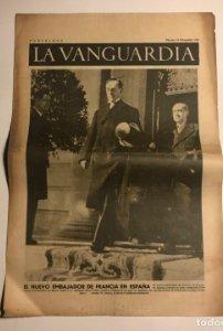 La Vanguardia 1937 Guerra civil española. M.Labonne. Manuel Azaña