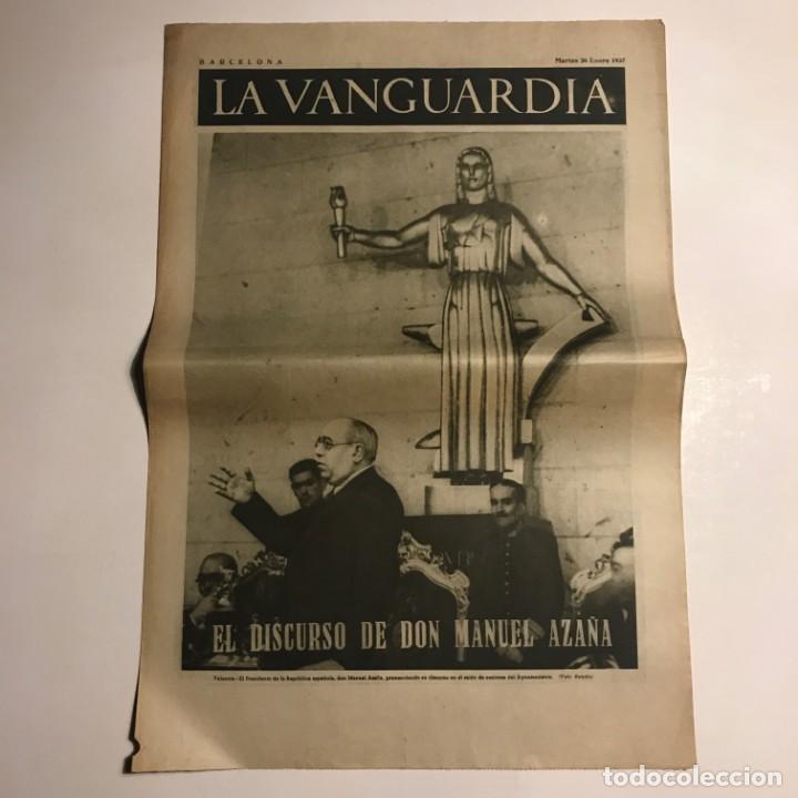 LA VANGUARDIA 1937. GUERRA CIVIL ESPAÑOLA. MANUEL AZAÑA. VALENCIA. OLMOS. ANTONIO AGULLO. URIBE (Coleccionismo - Revistas y Periódicos Antiguos (hasta 1.939))