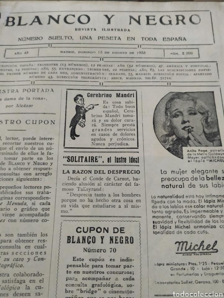 Coleccionismo de Revistas y Periódicos: Revista blanco y negro 2200, 13 de agosto de 1933 - Foto 2 - 148148254
