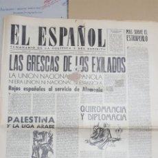 Coleccionismo de Revistas y Periódicos: EL ESPAÑOL.- NUMERO 168 DEL 12 ENERO 1946.- PALESTINA Y LA LIGA ARABE.- . Lote 148225106