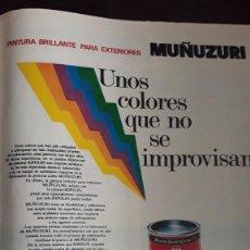 Coleccionismo de Revistas y Periódicos: ANUNCIO MUÑUZURI PINTURAS . Lote 148246190
