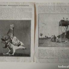 Coleccionismo de Revistas y Periódicos: REPORTAJE REVISTA ORIGINAL ANTIGUO.PALOMAS MENSAJERAS FOTÓGRAFOS. Lote 148740410
