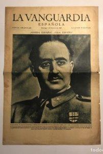 La Vanguardia 1939. Franco. José Antonio Primo de Rivera