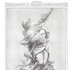 Coleccionismo de Revistas y Periódicos: 1920 HOJA REVISTA BOCETO MONUMENTO AL SOLDADO DESCONOCIDO ESCULTOR FRANCÉS L. SABATIER. Lote 149522594