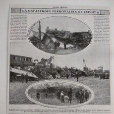 Coleccionismo de Revistas y Periódicos: HOJA REVISTA ORIGINAL 1915. CATASTRÓFE FERROVIARIA DE ESCOCIA. Lote 150150974