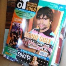 Coleccionismo de Revistas y Periódicos: REVISTA OPERACION TRIUNFO 2008 MANU GUIX SORAYA ARNELAS DOLCE VITA. Lote 151029201