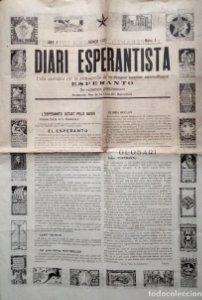 1921 Diari Esperantista Nº1. Fulla periòdica propaganda llengua auxiliar internacional Esperanto