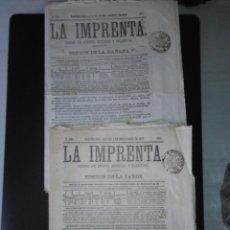 Coleccionismo de Revistas y Periódicos: RESERVADO A DAMIANSTAMP NO COMPRAR. LA IMPRENTA EDICION DE LA MAÑANA Y EDICION DE LA TARDE 1878. Lote 151723478