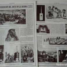Coleccionismo de Revistas y Periódicos: REPORTAJE REVISTA ORIGINAL AÑOS 10. EXPOSICION DEL ARTE EN LA GUERRA,POR LINARES. Lote 152311070