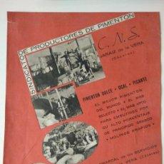 Coleccionismo de Revistas y Periódicos: HOJA PUBLICIDAD REVISTA ORIGINAL GUERRA CIVIL.SINDICATO PRODUCTORES PIMIENTOS JARAIZ DE LA VERA. Lote 152311294