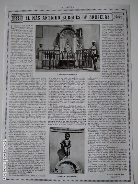 HOJA REVISTA ORIGINAL AÑOS 10. EL MAS ANTIGUO BURGUÉS DE BRUSELAS, MANNEKEN-PIS (Coleccionismo - Revistas y Periódicos Antiguos (hasta 1.939))