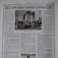 Coleccionismo de Revistas y Periódicos: HOJA REVISTA ORIGINAL AÑOS 10. EL MAS ANTIGUO BURGUÉS DE BRUSELAS, MANNEKEN-PIS. Lote 152423074