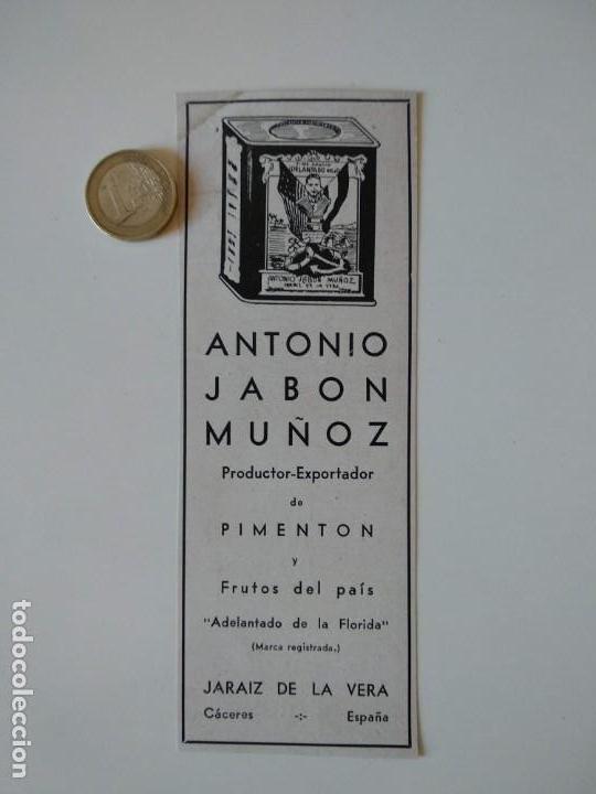 PUBLICIDAD REVISTA ORIGINAL AÑOS 30. ANTONIO JABÓN MUÑOZ, PIMENTON JARAIZ DE LA VERA (Coleccionismo - Revistas y Periódicos Antiguos (hasta 1.939))