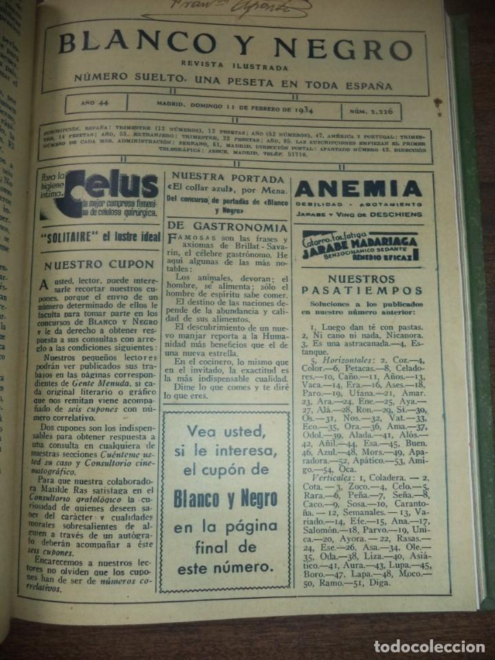 Coleccionismo de Revistas y Periódicos: REVISTA BLANCO Y NEGRO. 5 REVISTAS ENCUADERNADAS. AÑO 44. 1934. LEER. - Foto 3 - 153313078