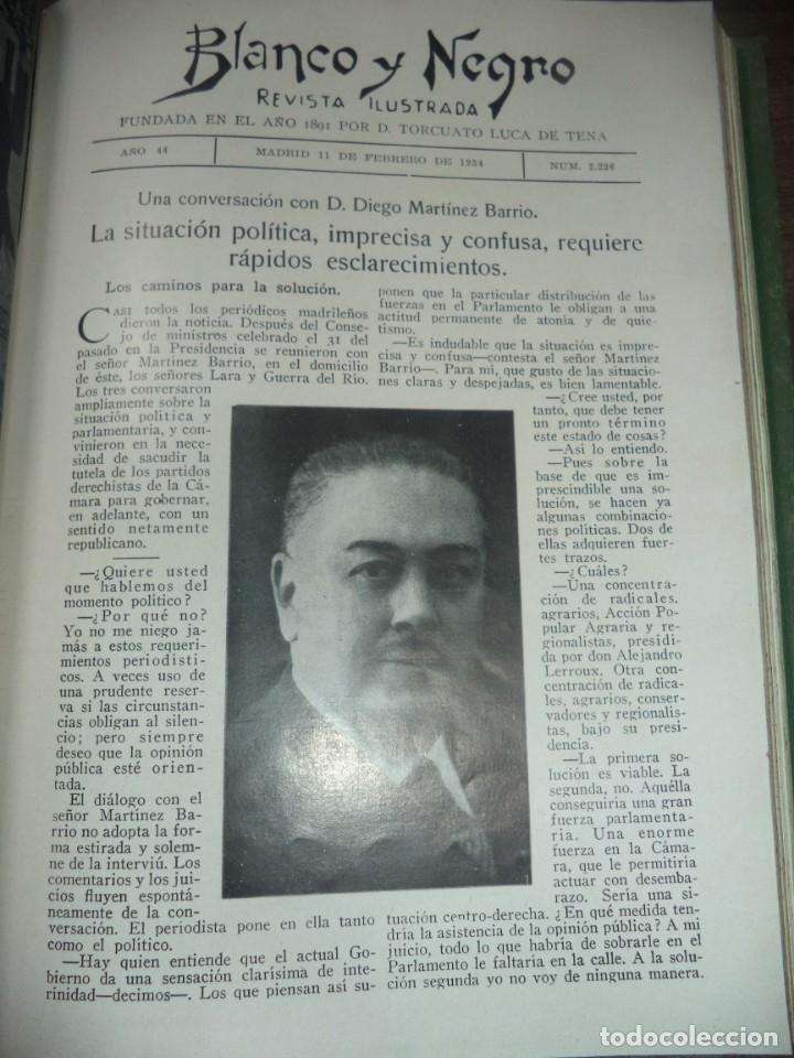 Coleccionismo de Revistas y Periódicos: REVISTA BLANCO Y NEGRO. 5 REVISTAS ENCUADERNADAS. AÑO 44. 1934. LEER. - Foto 4 - 153313078