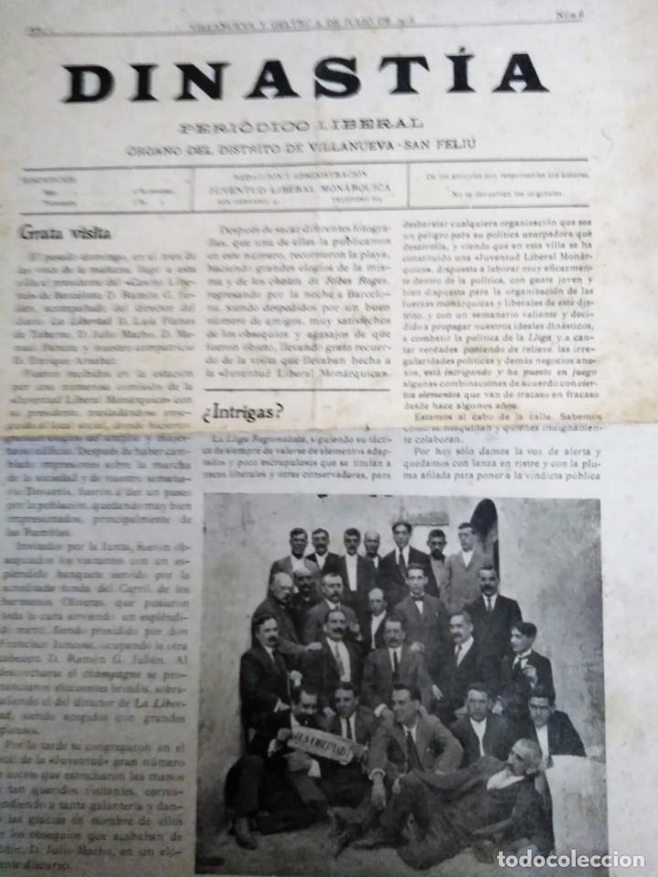 DINASTIA PERIODICO LIBERAL 1916 VILLANUEVA Y GELTRU REDACCION JUVENTUD LIBERAL MONARQUICA (Coleccionismo - Revistas y Periódicos Antiguos (hasta 1.939))