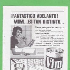 Coleccionismo de Revistas y Periódicos: PUBLICIDAD 1962. ANUNCIO VIM. Lote 154337450