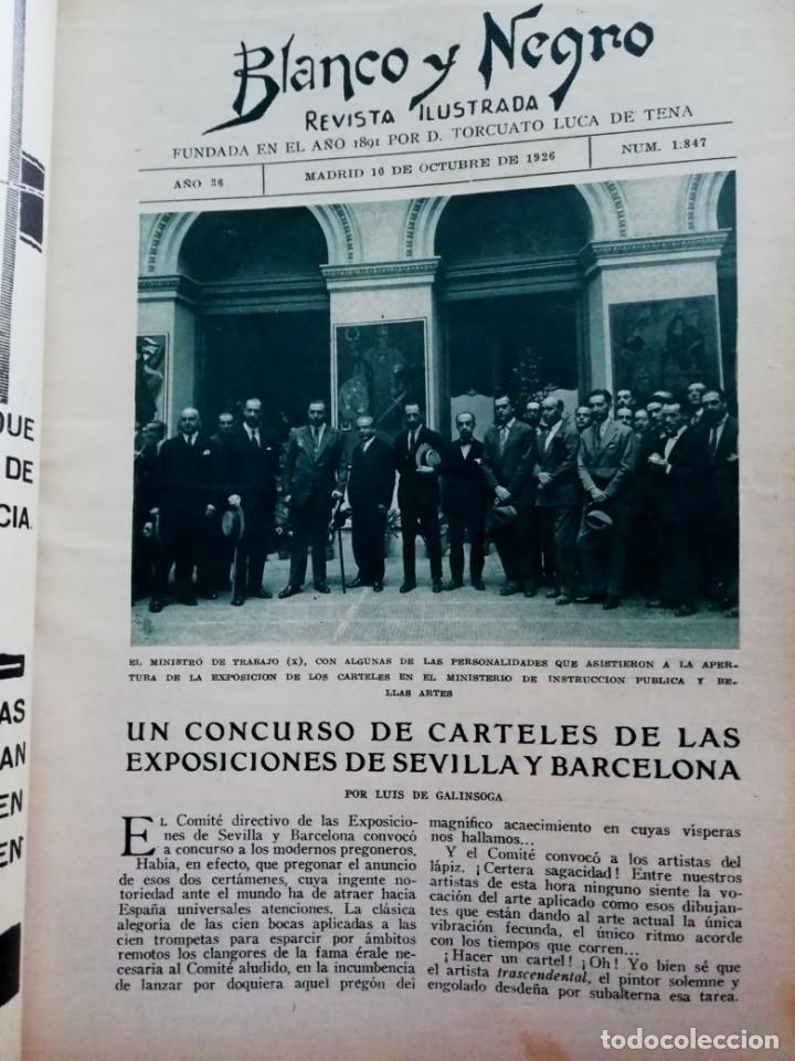 Coleccionismo de Revistas y Periódicos: Blanco y Negro - 6 revistas, años 1926 y 1927, en tomo - Foto 14 - 154349890