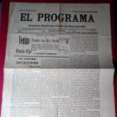 Coleccionismo de Revistas y Periódicos: EL PROGRAMA SEMANARIO REPUBLICANO FEDERAL DEL BAJO AMPURDAN 1905 N 110. Lote 154400882