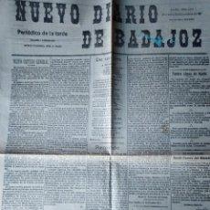 Coleccionismo de Revistas y Periódicos: NUEVO DIARIO DE BADAJOZ 1911 CAPITAN GENERAL DON MARCELO DE AZCARRAGA ELECCIONES MUNICIPALES. Lote 155134502