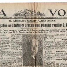 Coleccionismo de Revistas y Periódicos: LA VOZ PERIODICO DE MADRID DE 14 DE OCTUBRE DE 1931. MANUEL AZAÑA NUEVO JEFE DEL GOBIERNO. Lote 155491466