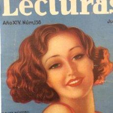 Coleccionismo de Revistas y Periódicos: REVISTA LECTURAS. JULIO A DICIEMBRE 1934. SEIS REVISTAS ENCUADERNADAS EN UN TOMO.. Lote 155510622