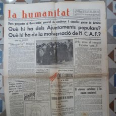Coleccionismo de Revistas y Periódicos: PERIODICO LA HUMANITAT 1224 ENERO 1936. Lote 155530002