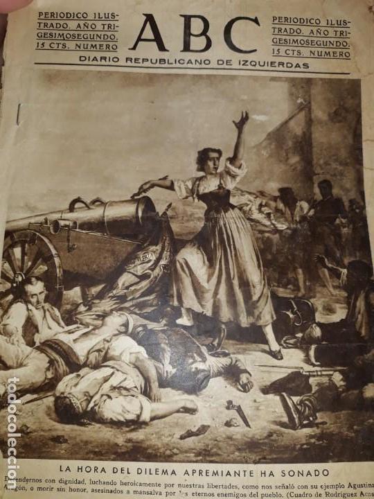 PERIODICO ABC DIARIO REPUBLICANO IZQUIERDAS GUERRA CIVIL CRISTO FOTOS MILICIANOS TREN ENFERMERAS (Coleccionismo - Revistas y Periódicos Antiguos (hasta 1.939))