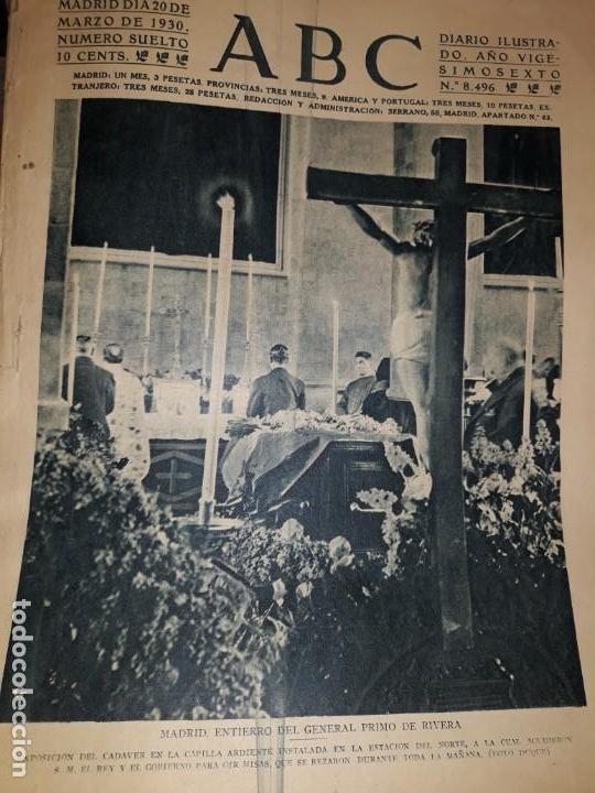 PERIODICO ABC 1930 DIARIO CAPILLA ENTIERRO PRIMO RIVERA INFANTE ROSA AZAFRÁN ROSARIO PINO PUBLICIDAD (Coleccionismo - Revistas y Periódicos Antiguos (hasta 1.939))