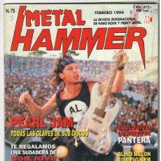 Coleccionismo de Revistas y Periódicos: METAL HAMMER Nº 75 - FEBRERO 1994 - PEARL JAM, PANTERA, BLIND MELON, PARADISE LOST, MARILLION. Lote 155709522