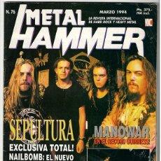 Coleccionismo de Revistas y Periódicos: METAL HAMMER Nº 76 - MARZO 1994 - SEPULTURA, NAILBOMB, DAVID LEE ROTH, MANOWAR, MOTLEY CRUE, FIGHT. Lote 155710290