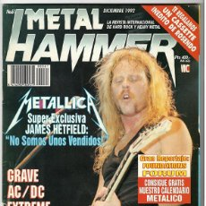 Coleccionismo de Revistas y Periódicos: METAL HAMMER Nº 61 - DICIEMBRE 1992 - METALLICA, GRAVE, AC/DC, ALICE IN CHAINS, MANOWAR, FOREIGNER. Lote 155711138