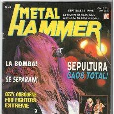Coleccionismo de Revistas y Periódicos: METAL HAMMER Nº 94 - SEPTIEMBRE 1995 - SEPULTURA, AC/DC, OZZY, FOO FIGHTERS, METALLICA, IRON MAIDEN. Lote 155714598