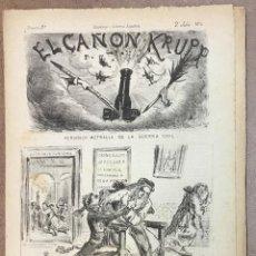 Coleccionismo de Revistas y Periódicos: EL CAÑON KRUPP. PERIÓDICO METRALLA DE LA GUERRA CIVIL. DISPARO 9º. 2 JULIO DE 1874. - [REVISTA.]. Lote 155747522