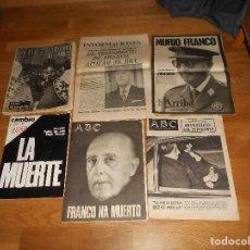 Coleccionismo de Revistas y Periódicos: LOTE 6 PERIODICOS FRANCO HA MUERTO ENTIERRO ABC ARRIBA INFORMACIONES CAMBIO 16. Lote 155788602