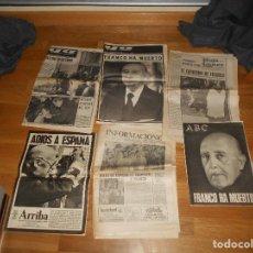 Coleccionismo de Revistas y Periódicos: LOTE 6 PERIODICOS FRANCO HA MUERTO ENTIERRO ABC ARRIBA INFORMACIONES YA HOJA DEL LUNES. Lote 155811226