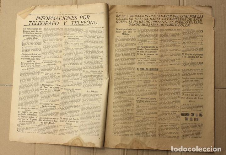 Coleccionismo de Revistas y Periódicos: LA UNION. DIARIO GRAFICO INDEPENDIENTE. SEVILLA. Nº 2678. 20 FEBRERO 1926. MUERTE DEL LITRI - Foto 2 - 156107393