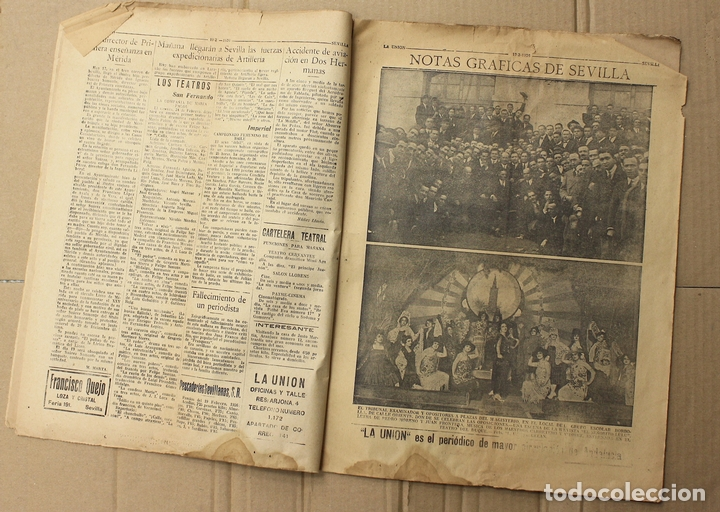 Coleccionismo de Revistas y Periódicos: LA UNION. DIARIO GRAFICO INDEPENDIENTE. SEVILLA. Nº 2678. 20 FEBRERO 1926. MUERTE DEL LITRI - Foto 3 - 156107393