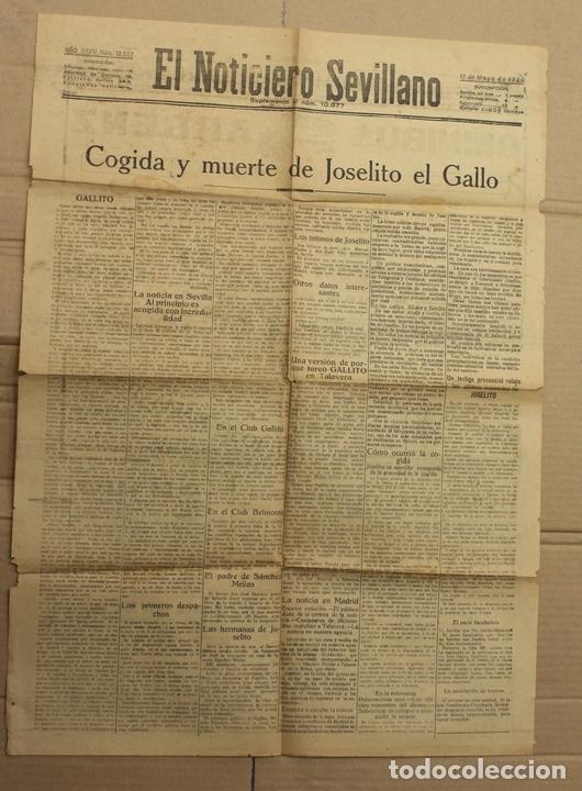 EL NOTICIERO SEVILLANO. 17 DE MAYO DE 1920. COGIDA Y MUERTE DE JOSELITO EL GALLO (Coleccionismo - Revistas y Periódicos Antiguos (hasta 1.939))
