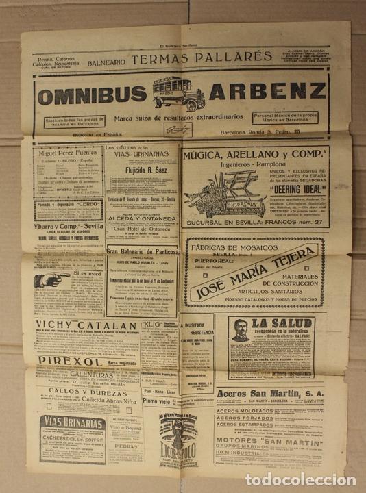 Coleccionismo de Revistas y Periódicos: EL NOTICIERO SEVILLANO. 17 DE MAYO DE 1920. COGIDA Y MUERTE DE JOSELITO EL GALLO - Foto 2 - 156108382