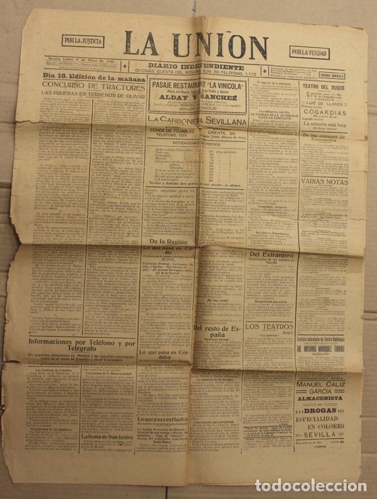 DIARIO INDEPENDIENTE LA UNION. SEVILLA. 17 DE MAYO DE 1920. MUERTE DE JOSELITO (Coleccionismo - Revistas y Periódicos Antiguos (hasta 1.939))