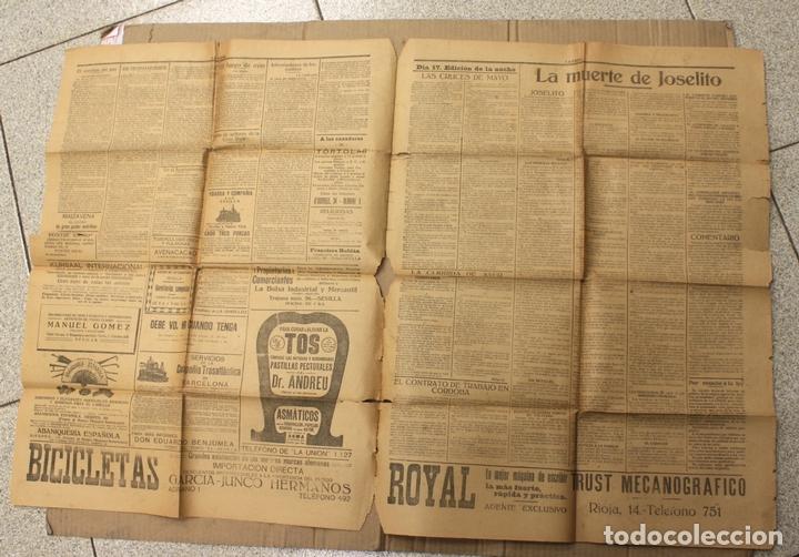 Coleccionismo de Revistas y Periódicos: DIARIO INDEPENDIENTE LA UNION. SEVILLA. 17 DE MAYO DE 1920. MUERTE DE JOSELITO - Foto 2 - 156126490