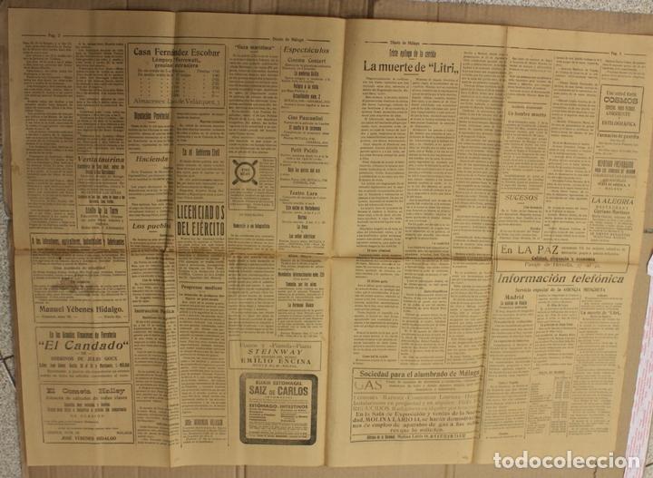 Coleccionismo de Revistas y Periódicos: DIARIO DE MALAGA. Nº 1805. 18 DE FEBRERO DE 1926. LA MUERTE DE LITRI - Foto 2 - 156136298