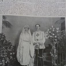Coleccionismo de Revistas y Periódicos: BODA ROSARIO PATIÑO LOSADA CON JOSE MARQUEZ HIJO DE LOS MARQUESES DE MONTEFUERTE 2 HOJAS AÑO 1921. Lote 156993002