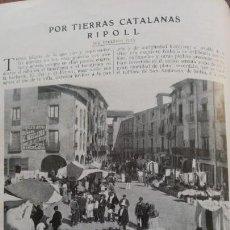 Coleccionismo de Revistas y Periódicos: RIPOLL 2 HOJAS SAN MIGUEL DE LA ROQUETA MONASTERIO PLAZA MERCADO 2 HOJAS AÑO 1921. Lote 156994294