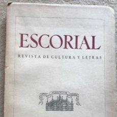 Coleccionismo de Revistas y Periódicos: ESCORIAL REVISTA DE CULTURA Y LETRAS - N° 12 - AÑO 1941. Lote 157824430