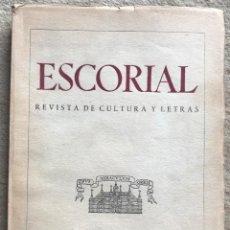 Coleccionismo de Revistas y Periódicos: ESCORIAL - N° 11 - REVISTA DE CULTURA Y LETRAS (SEPTIEMBRE 1941). Lote 157844010