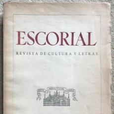 Coleccionismo de Revistas y Periódicos: ESCORIAL - N° 13 - REVISTA DE CULTURA Y LETRAS (NOVIEMBRE 1941). Lote 157844530