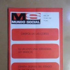 Coleccionismo de Revistas y Periódicos: Nº 165 - MS MUNDO SOCIAL - 15/04/1969 - OBISPOS EN LAS CORTES... - FOMENTO SOCIAL. Lote 157889854